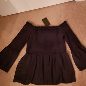 Velour off the shoulder shirt NWT